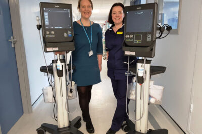 Healthcare workers with medical equipment