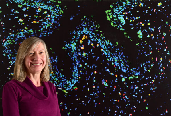 A researcher stood in front of a large image of her work